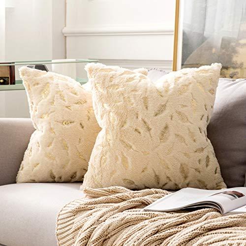 MIULEE 2er Set Bronzing Feder Kissenbezug Quaste Kissenhülle Dekorative Kurzes Haar Dekokissen mit Reißverschluss Sofa Schlafzimmer 18 x 18 Inch 45 x 45 cm Champagner Gold