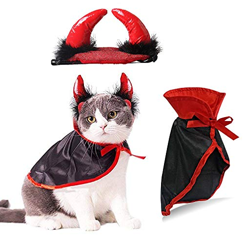 IFLYOOY Halloween Pet Costumes for Cats and Puppy Vampire Costume Cosplay for Small Dogs and Funny Holiday Clothes for Black Night Bloody Party (Cape & Horn)