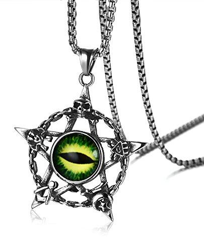 VNOX Collar con colgante redondo de acero inoxidable con sello personalizado de la estrella de Salomón para hombres y mujeres, cadena de trigo gratis