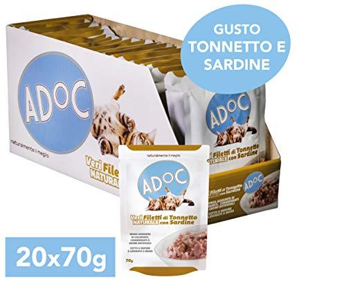 Adoc - Cibo Umido per Gatti Adulti con Veri Filetti di Tonnetto Naturale con Sardine - 20 bustine da 70gr