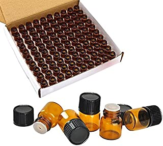 Wresty 100 Packs Essential Oil Bottles,1ml(1/4 dram) Mini Sample bottle Amber Glass Vials,With With 3 Free Dropper