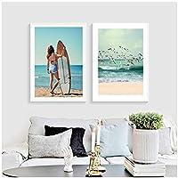 スカンジナビアのポスター海景カモメの写真セクシーな女の子の壁のプリントビーチのキャンバスの絵画海の壁の写真80x120cmx2Pcsフレームレス