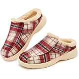 Mens Slippers with Arch Support,Orthopedic Slippers Fleece Lining,Adjustable Plantar Fasciitis Orthotic Diabetic Foot Pain Relief House Shoes,NON SLIP Christmas Clog Indoor Outdoor,Plaid Red,size 11