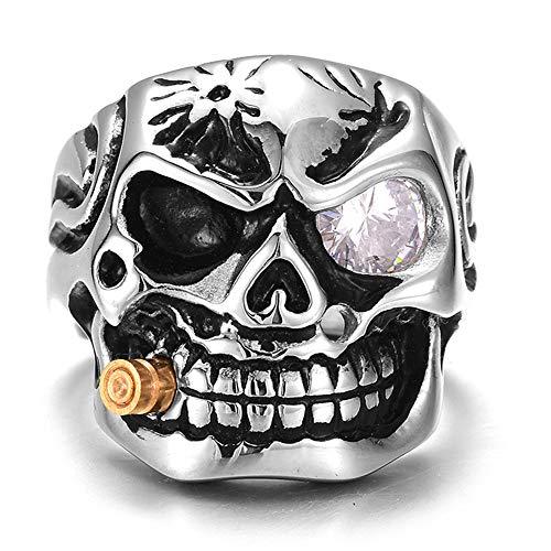 Hip Hop Rock Style en Acier Inoxydable Zircon Antique tête de Mort Skull Heads Biker Anneau pour Femme/Homme