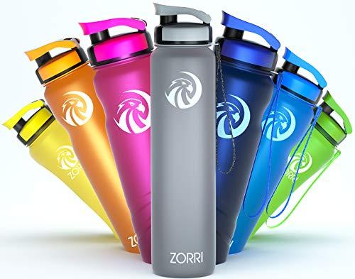 ZORRI Botella de agua de 1 litro/600 ml/800 ml/1,2 litros, sin BPA,...