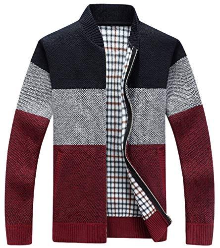 chouyatou Men's Classic Band Collar Full Zip Color-Block Stripe Cable Knitted Cardigan Sweater Coat (Large, Dark Red)