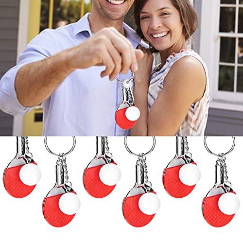 6 Stück Tischtennis-förmiger Schlüsselanhänger, Handtaschen-Schlüsselanhänger, leicht und tragbar für Damen Herren