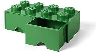 LEGO Brick Drawer, 8 Knobs, 2 Drawers, Stackable Storage Box, Dark Green