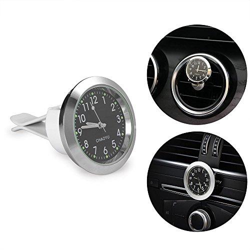 """FORNORM Uhr für Auto, Quarz Uhrwerk Auto Clip Auf Autouhr Analog Metall mit Nachtlicht Zeiger, Schwarz Zifferblatt Weiß Nummer, 1.4 * 0.4"""""""