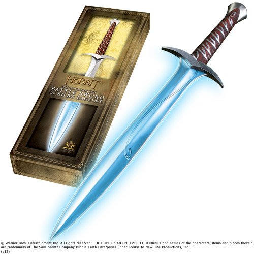 Noble Collection-El Señor de los Anillos Pungolo Hoja Luminosa Espada de Bilbo, Color Plata, Única, NN1299