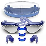 Zoma Swimming Goggles with Anti Fog Technology - 3 Piece Adjustable Nose Bridge for Perfect Comfortable Fit for Adults and Kids - Ergonomic Silicone Earplugs Included (Blue)