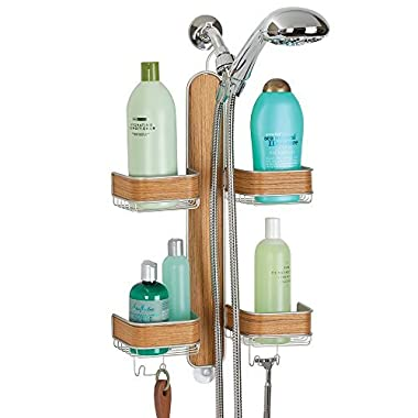 mDesign Bathroom Shower Caddy for Hand Held Hoses, Shampoo, Conditioner, Soap - Satin/Teak Wood Finish