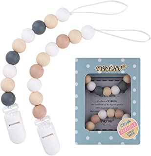 Pacifier Clip, TYRY.HU Silicone Teething Beads Binky Teether Holder for Girls, Baby Shower Gift, 2 Pack (White+Grey)
