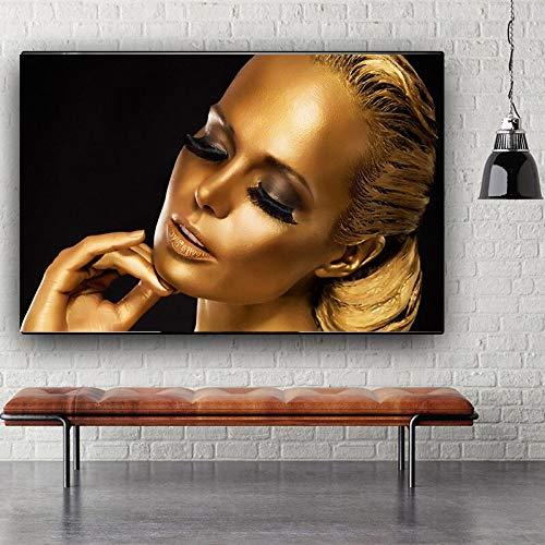 Santangtang Zwarte en gouden Afrikaanse vrouwencanvas met olieverfschilderijaffiches en print op woonkamerwand