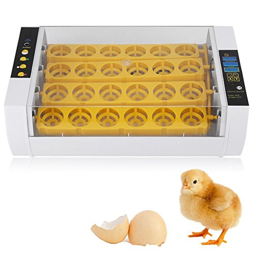 Yosoo- Eggs Incubator, 24 Eggs Automatic Temperature Control Low Noise Hatcher Made with Waterproof and Anti Electric Leakage Design Suitable for Chicken Duck Pheasant Goose Eggs