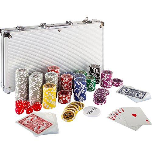 Maxstore Ultimate Pokerset mit 300 hochwertigen 12 Gramm METALLKERN Laserchips, inkl. 2X Pokerdecks, Alu Pokerkoffer, 5X Würfel, 1 x Dealer Button, Poker, Set, Pokerchips, Koffer, Jetons