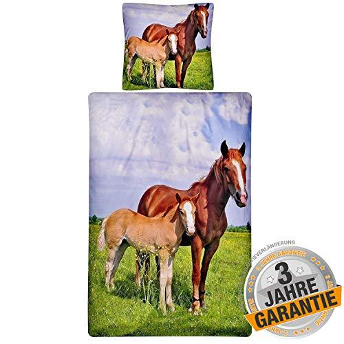 Aminata Kids Bettwäsche 135 x 200 Kinder Mädchen Pferde Teenager Baumwolle - Kinder-Bettwäsche-Set, Pferdebettwäsche, braun bunt, Kinderbettwäsche mit Pferd Pony Fohlen Sommer für Kinderbett