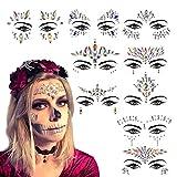 Tatuaje Cristal Temporal Carnaval KATOOM 9pcs Joyas Pegatinas Faciales Gemas,Cara Diamantes de Imitación,Hada de las flores para Fiestas, Maquillaje Cosplay Juego de Roles Disney Mujeres