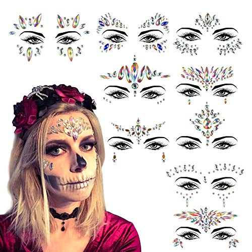 KATOOM 9er Gesicht Edelsteine Selbstklebend Strasssteine Fee Make Up Glitzersteine Day of The Death Strass Steine Aufkleber Körperschmuck Schmucksteine für Karneval Halloween Party Fasching