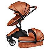 Silla de paseo de 4 ruedas con silla de paseo compacta y regulable en altura,...