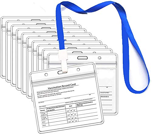 4 X 3 Inches Immunization Record Vaccine Cards Cover Holder Clear Vinyl Plastic Sleeve with Waterproof Type Resealable Zip (20 pcs)
