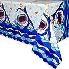 "WERNNSAI Shark Party Tablecloth - 1 PCS 54"" x 108"" Rectangular Disposable Plastic Table Cover Shark Splash Decorations for Boys Kids Birthday Baby Shower Pool Blue Ocean Shark Theme Party Supplies"