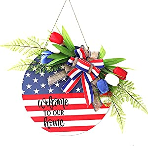 "Sucpur American Patriotic Tulip Welcome Sign, 19.7inch Tulip Silk Memorial Day ï¼""th of July Wreath Red White and Blue Flower Garland Wooden Hanging Tulip Flower Wreath Garland Decor"