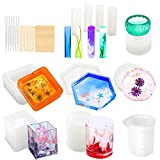 Resin Molds, WEST BAY 37Pcs Silicone Molds Resin Epoxy Resin Casting Art Molds for DIY Cup Pen Soap Candle...