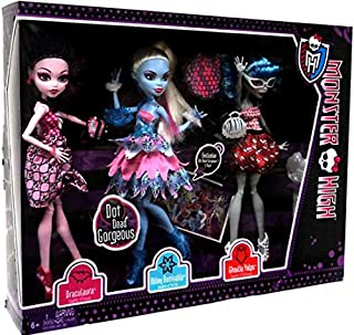 Monster High Doll Exclusive Dot Dead Gorgeous ~ 3 Pack Draculaura, Abbey Bominable, Ghoulia Yelps