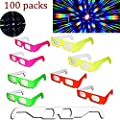 EEkiiqi 100 Pairs Fireworks 3D Glass Rainbow Diffraction 3D Fireworks Glasses Neon Multi-Starbursts for Fireworks Displays/Holiday Lights/Club/Concert Lights (100 Packs)