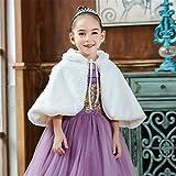 MOMIN Capuchon à Capuchon Enfants Vêtements pour Enfants Furry Cloak Fleur Robe Robe Épaisée Châle Chaud Girl Princess Style Western Style Halloween Cape Girl (Color : White, Size : 130cm)
