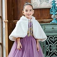 フード付きケープ 子供服のような毛皮の毛皮の花の女の子のドレス厚い暖かいショールガールプリンセスドレス洋風 誕生日の衣装 (Color : White, Size : 140cm)