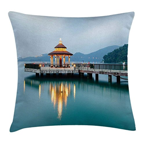 Asian Throw Pillow Cushion Cover, Sun Moon Lake in Taiwan China Foggy Misty Atmosphere Idyllic Famous Landmark, Decorative Square Accent Pillow Case, 18 X 18 Inches, Light Blue Orange