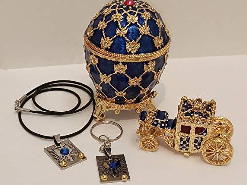 Imperial Faberge Huevo Caja de Joyero estilo TSAR Royal Carriage símbolo de doble cabeza Águila Power regalo para él hecho a mano sin cuello llavero de oro de 24 quilates de 4,75 quilates