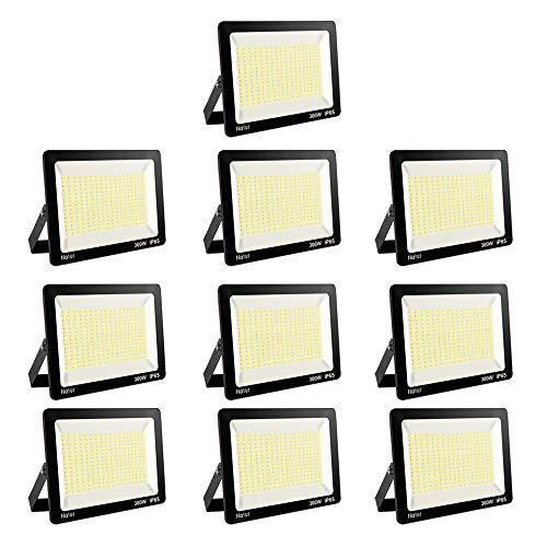 10er 300W LED Strahler 6000K Außenleuchte Superhell LED Fluter Außenstrahler Flutlicht IP65 Flutlichtstrahler Scheinwerfer Licht für Garten, Garage,Sportplatz Energieklasse A++