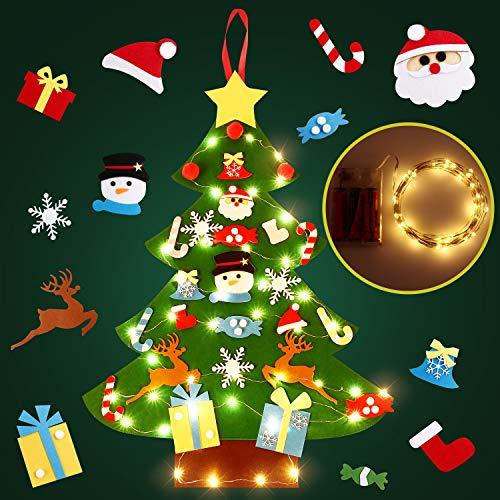 SOLEDI DIY Filz Weihnachtsbaum, DIY Weihnachtsbaum Dekoration Hängend Dekor für Kinder Weihnachten Geschenk mit 26PCS Verzierung 5m LED Lichterkette