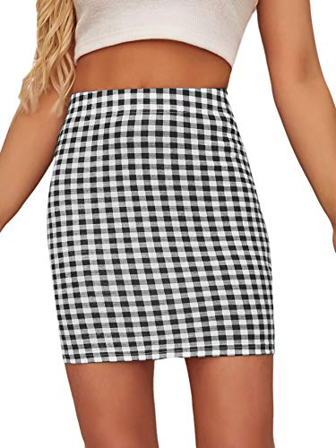 Floerns Women's Stretchy Gingham Plaid Bodycon Mini Skirt Black and White S