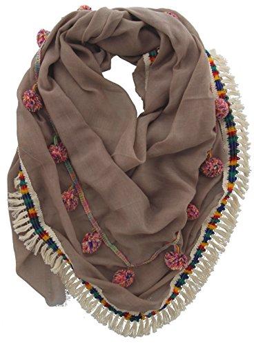Sjaal Ibiza/Boho stijl met kwasten en franjes - katoen en viscose - 140 x 140 cm - bruin