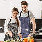 adakel 3 Stücke Wasserdicht Schürze, Kochschürze mit Taschen, Verstellbarem Küchenschürze Grillschürze latzschürze für Damen und Männer - 7