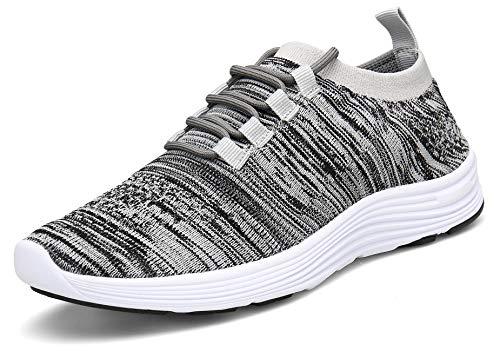 KOUDYEN Zapatillas Deporte Hombres Mujer Gimnasio Running Zapatos para Correr Transpirables Sneakers (EU41, B Gris)