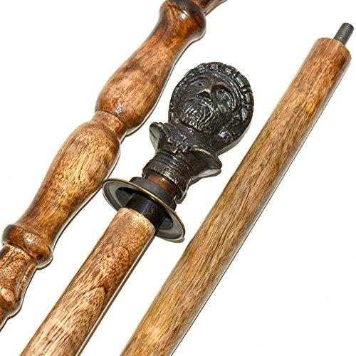 Bastón de latón marítimo antiguo con mango de madera para hombre