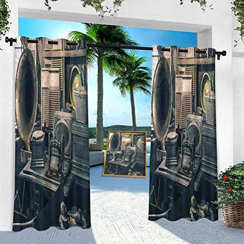 Cortina para patio al aire libre, antigua, gramófono, de 254 cm de ancho x 241 cm de largo, resistente panel interior para porche, balcón pérgola, toldo de tienda de campaña (1 panel)