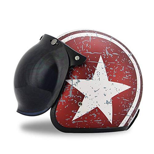 GAOZHE Personalidad Adultos Retro Casco Moto,Vintage Classic Abierto Cascos Half-Helmet,con Visera,Dot Approved,Profesional Moto Jet Cascos,para Mujer y Hombre Street Bike Cruiser Chopper Scooter