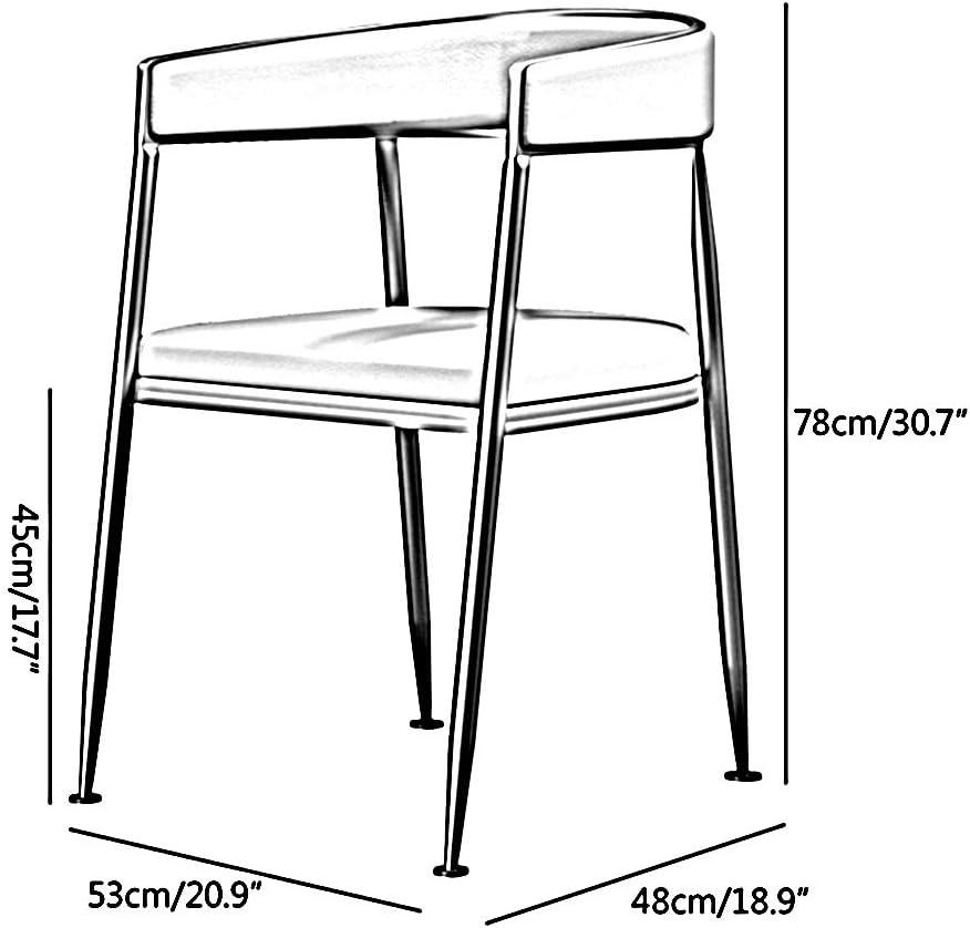 Bseack Lumière Restaurant de Chaise Lounge Chair Dossier Ergonomique Petit Appartement Flanelle Tissu Fer Chaise de négociation Restaurant Living Room (Color : Gray) Green