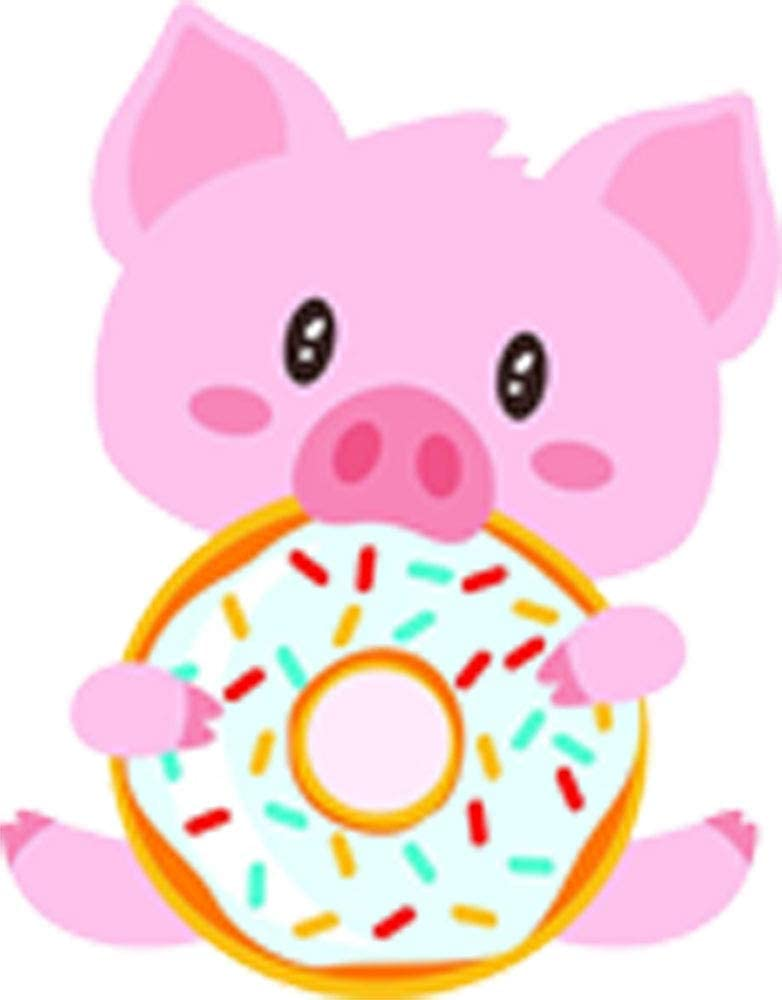 Amazon Com Cute Adorable Happy Silly Pink Pig Piglet Eating Donut Cartoon Vinyl Sticker 2 Tall Arts Crafts Sewing
