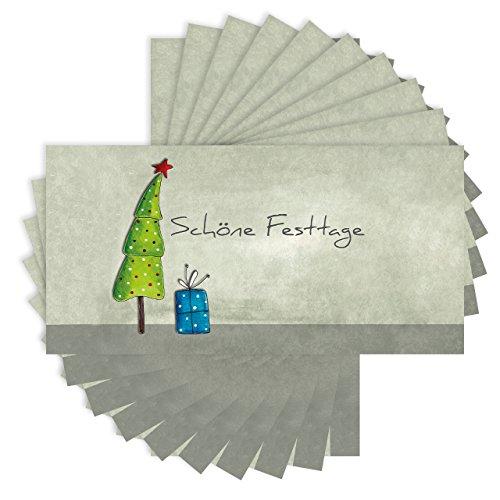 50 x Weihnachtskarten DINlang im Set - inklusive Umschläge (Klappkarten, 210x105mm, seidenmatt auf festem Karton)
