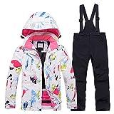 LSHEL Traje de esquí para niña, chaqueta y pantalones de esquí impermeables y resistentes al viento, traje de nieve para niños, 2 piezas Top A + pantalones . 134/140 cm(L)