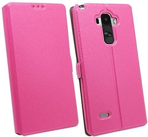 ENERGMiX Buchtasche kompatibel mit LG G4 Stylus (H635) Hülle Hülle Tasche Wallet BookStyle mit Standfunktion in Pink