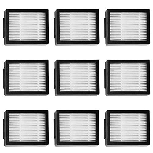 MIRTUX Kit de filtres pour Roomba E5 / i7 Pack de filtres de rechange pour E5 E6 i7 i7+ Plus. Pack de 9 filtres de rechange HEPA.