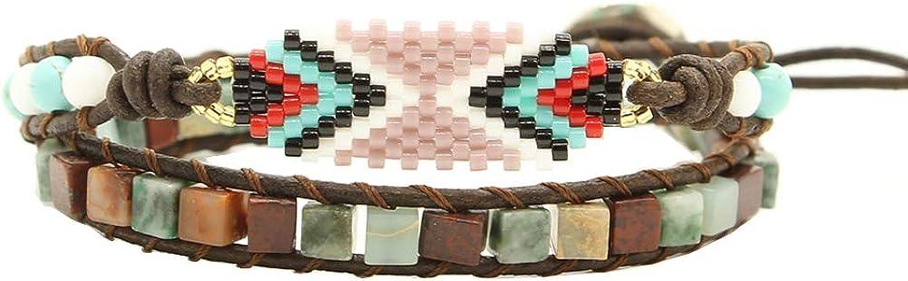Bonnie Boho Mannian Seed Beads Handmade Evil Eye Bracelet Leather Wrap Bangle Cuff Women Girls